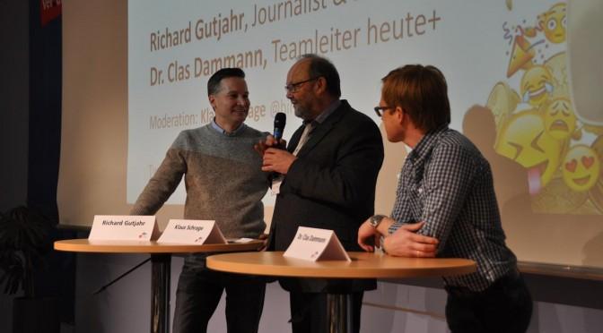 Richard Gutjahr (links) und Clas Dammann (rechts) auf dem 29. Journalistentag der DJU
