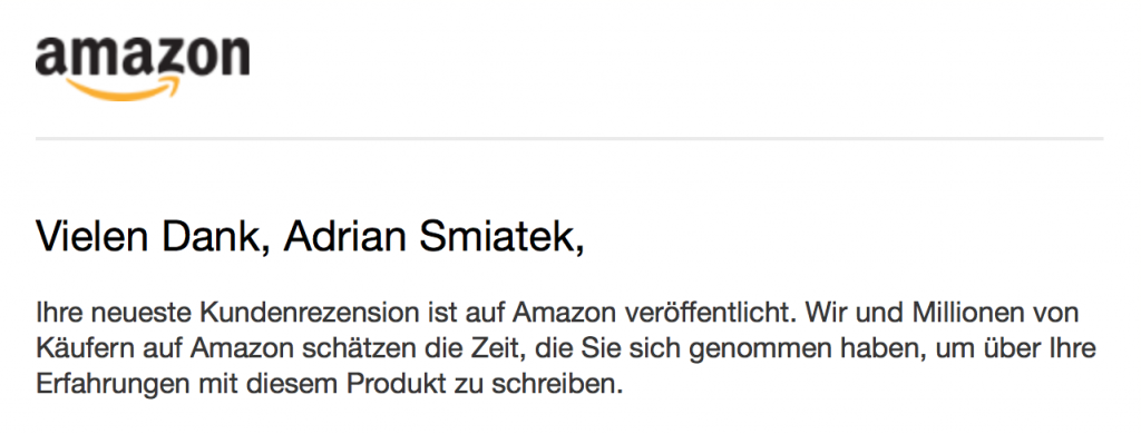 Mail Amazon sagt Danke