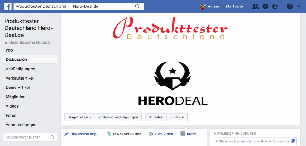 "Die Facebook Gruppe ""Produkttester Deutschland Hero-Deal.de"""